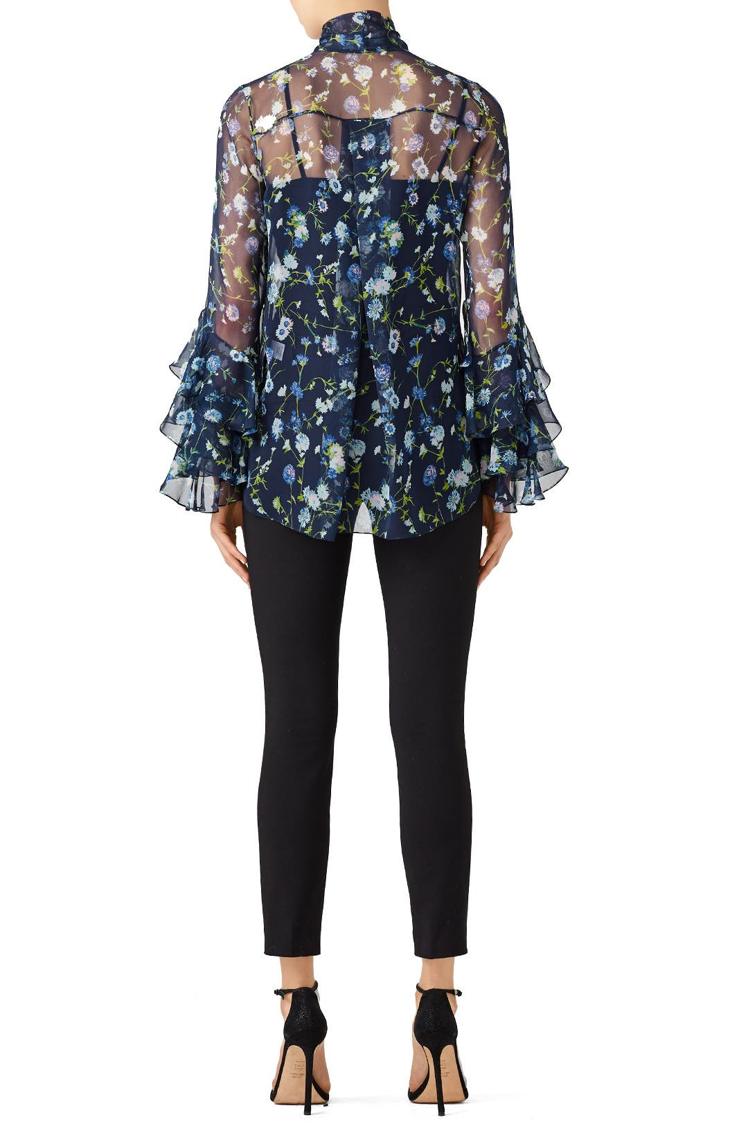 412557fe348b78 Sheer Floral Tie Neck Blouse by Prabal Gurung for  185