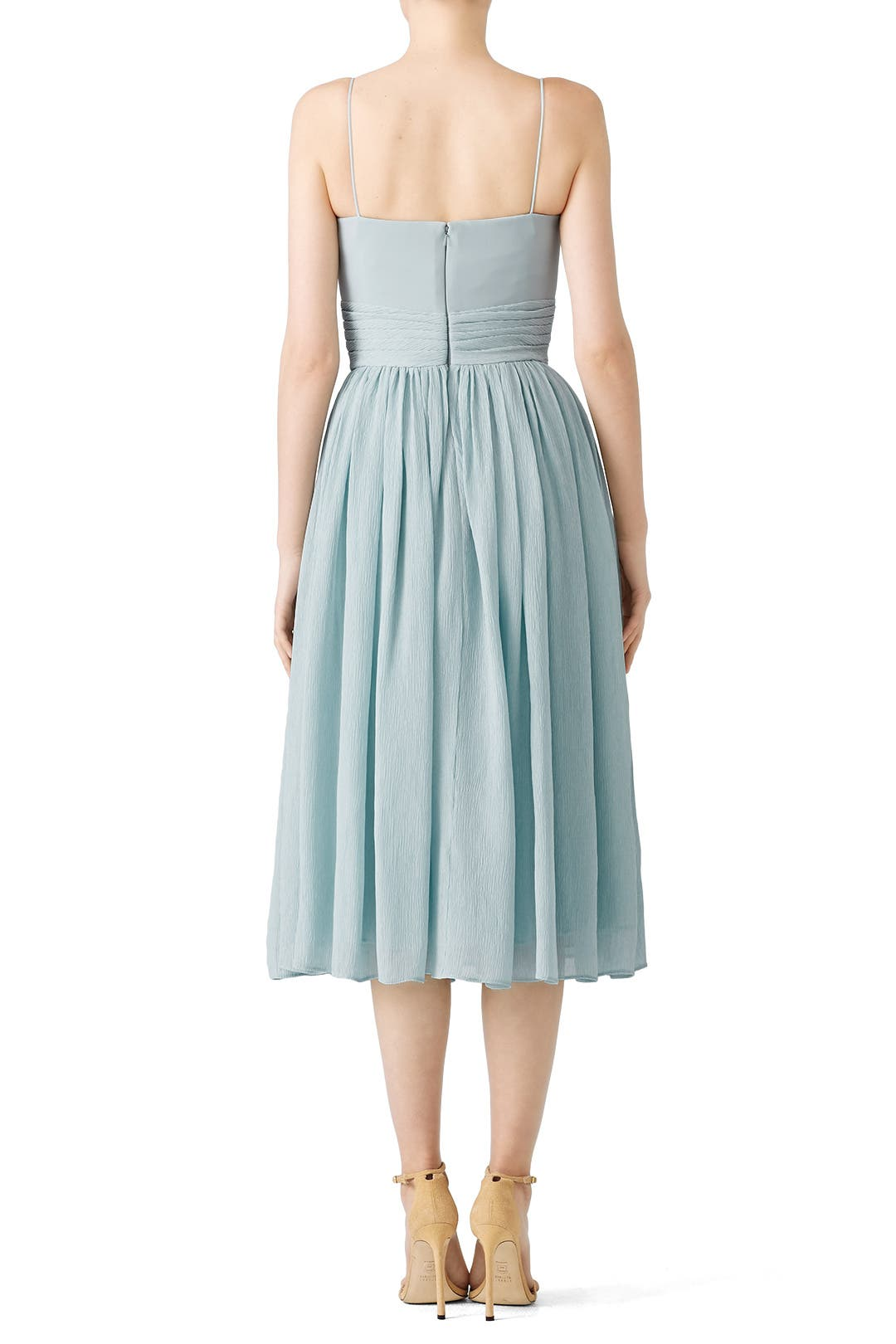 Blue Knotted Midi Dress by ADEAM for $40 | Rent the Runway