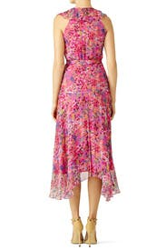 Pink Floral Ruffle Midi Dress by SALONI