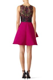 Fuchsia Embroidered Cocktail Dress by Marchesa Notte