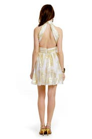 Ivory Lurex Halter Dress by Mark & James by Badgley Mischka