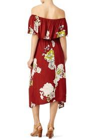 Red Rust Floral Off Shoulder Dress by ASTR