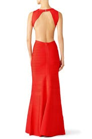Red Cassandra Signature Essentials Gown by Hervé Léger