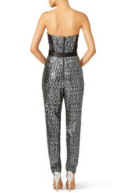 Silver Sequins Bustier Jumpsuit by Milly
