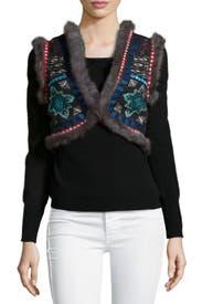 Embroidered Fur Trim Vest by Christophe Sauvat