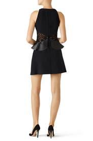 Black Leather Peplum Dress by Giamba