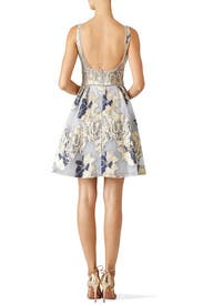 Metallic Floral Cocktail Dress by Marchesa Notte