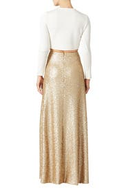 Gold Cecilia Maxi Skirt by Slate & Willow for $40 - $50 | Rent the ...