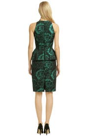Pom Pom Peplum Sheath by Carmen Marc Valvo