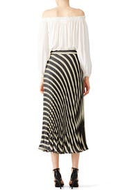 Black and White Pleated Skirt by Nicole Miller for $100 | Rent the ...