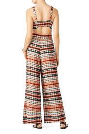 Orange Abstract Stripe Jumpsuit by Josie by Natori
