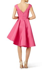 Pink Asymmetrical Silk Dress by Christian Siriano