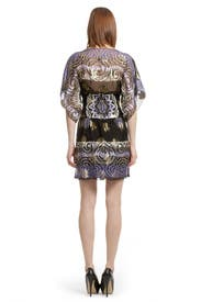 Black Metallic Rose Sheath by Anna Sui
