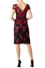 Red Floral Embroidered Sheath by Marchesa Notte