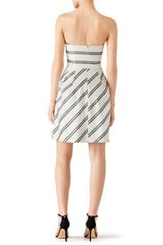Striped Strapless Cocktail Dress by Halston Heritage