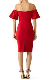 Red Off Shoulder Ruffle Dress by Badgley Mischka