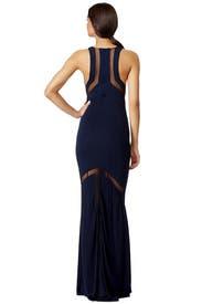 Sheer Chevron Gown by GALVAN