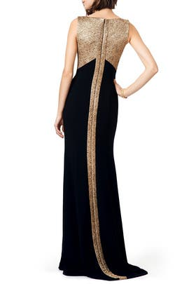 Graphic Gold Gown by Theia