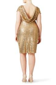 Gold Swank Sequin Sheath by Badgley Mischka