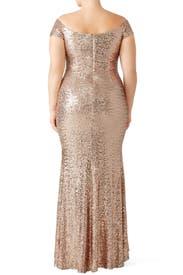 Blush Sequin Off Shoulder Gown by Badgley Mischka