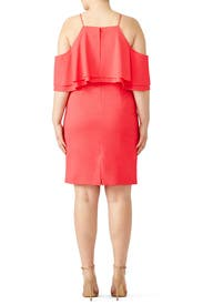 Coral Ruffle Cold Shoulder Dress by Badgley Mischka