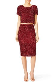 Burgundy Cascade Skirt by Parker