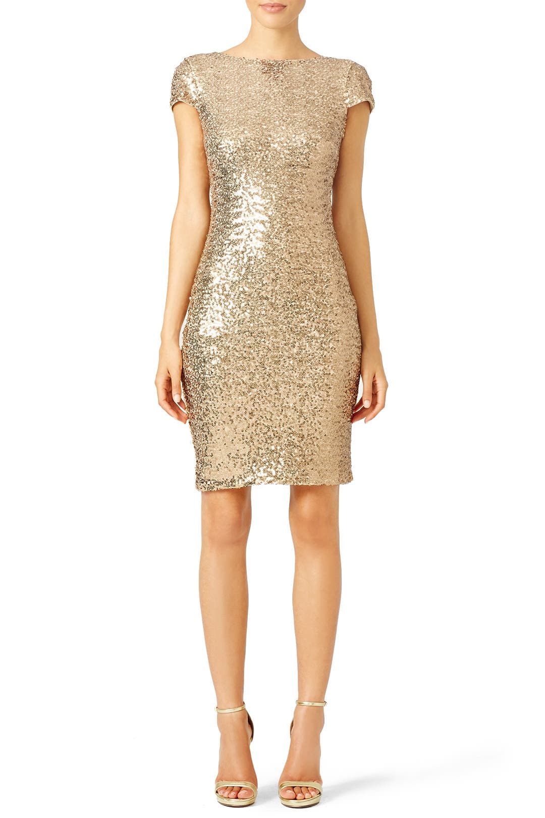 Gold Swank Sequin Sheath By Badgley Mischka For 60 75