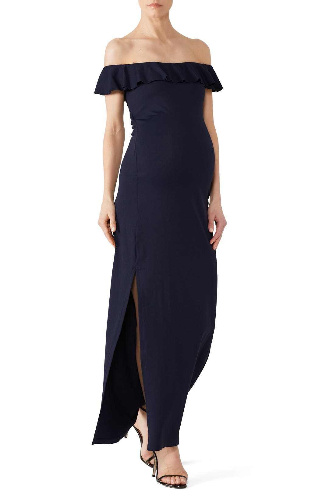 Navy Ruffle Slit Maternity Gown By Susana Monaco For 30