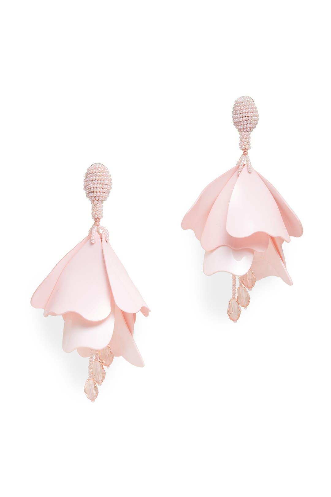 Pink Impatiens Flower Drop Earrings By Oscar De La Renta For $65  Rent The  Runway