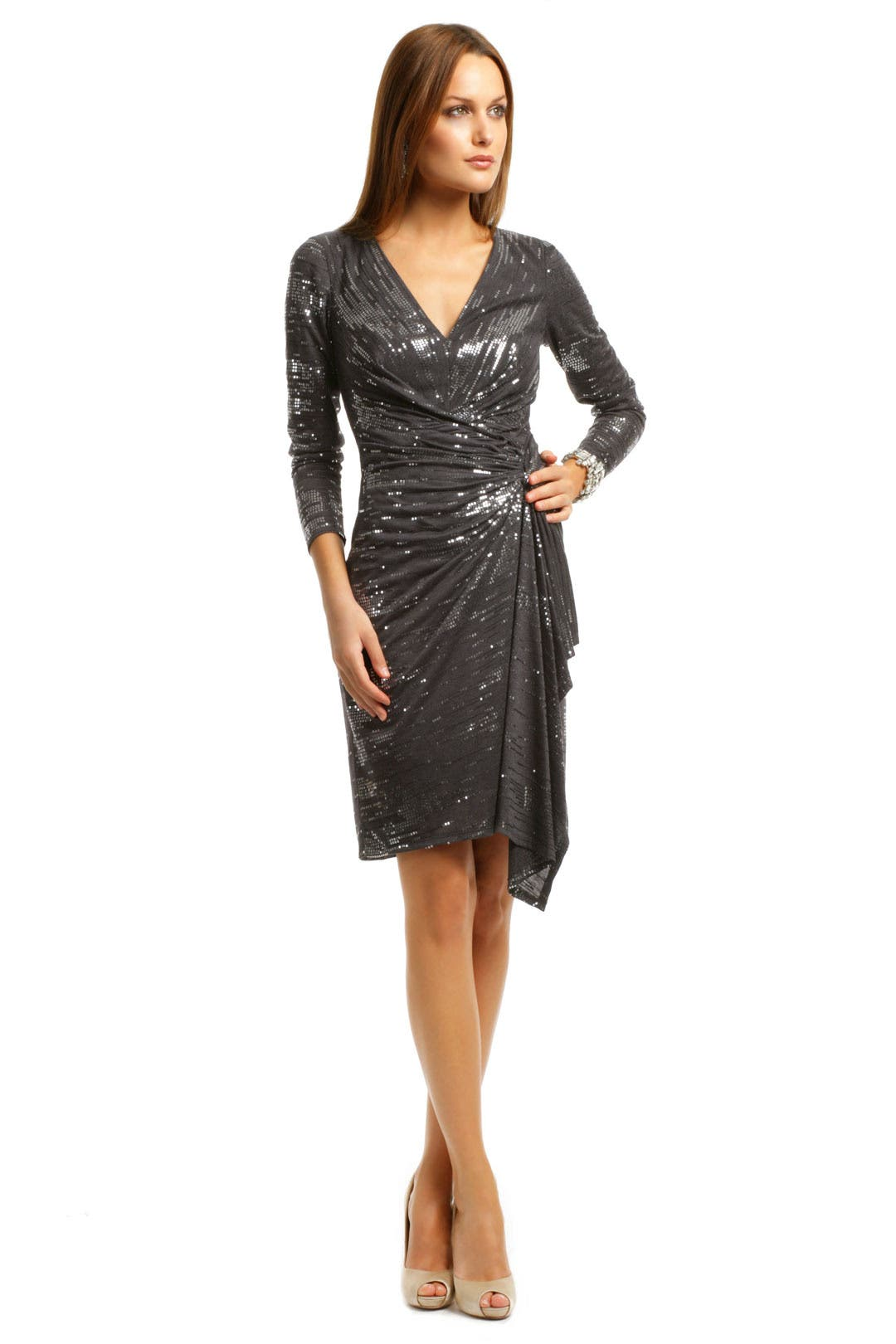Charcoal Cocktail Sequin Dress by David Meister for $98 | Rent the ...