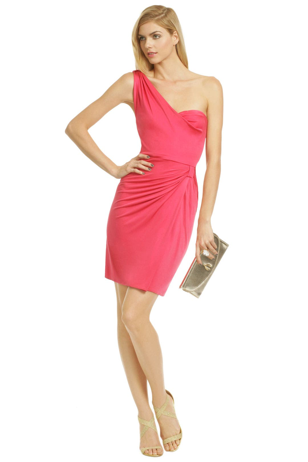 Red Draped Silk Dress by Issa