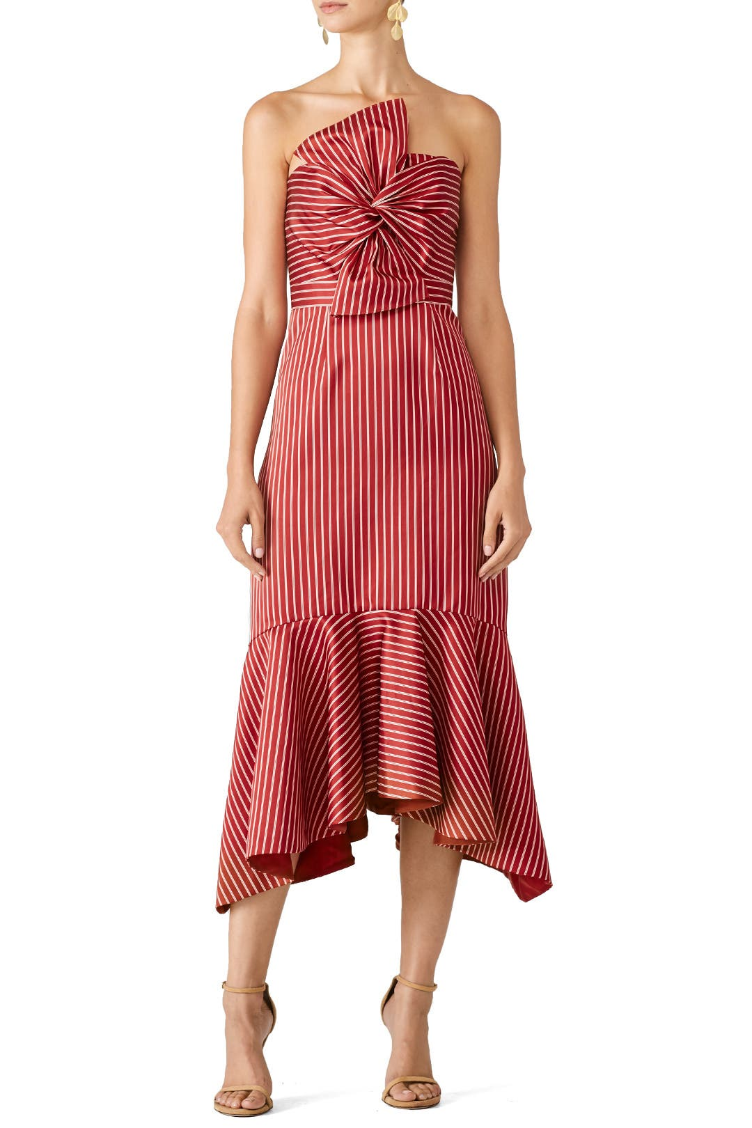 534672b0ae9 AMUR Eva Dress Red and white striped silk faille (100% Silk). Sheath.  Strapless. Straight neckline with bow. Hidden back zipper with hook-and-eye  closure.