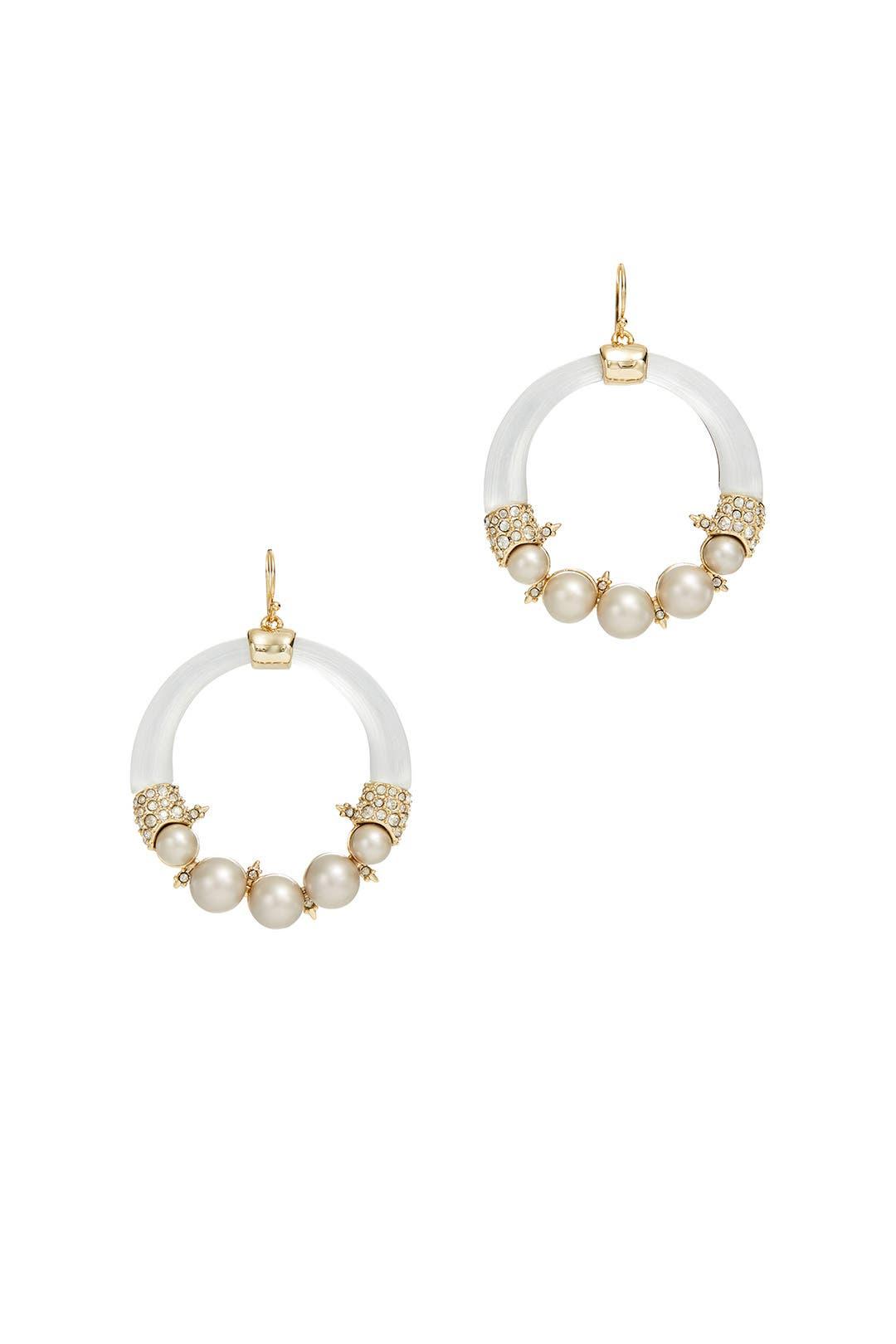 Alexis Bittar Crystal Encrusted Pearl Hoop Wire Earring Silver yYR93HmPKE