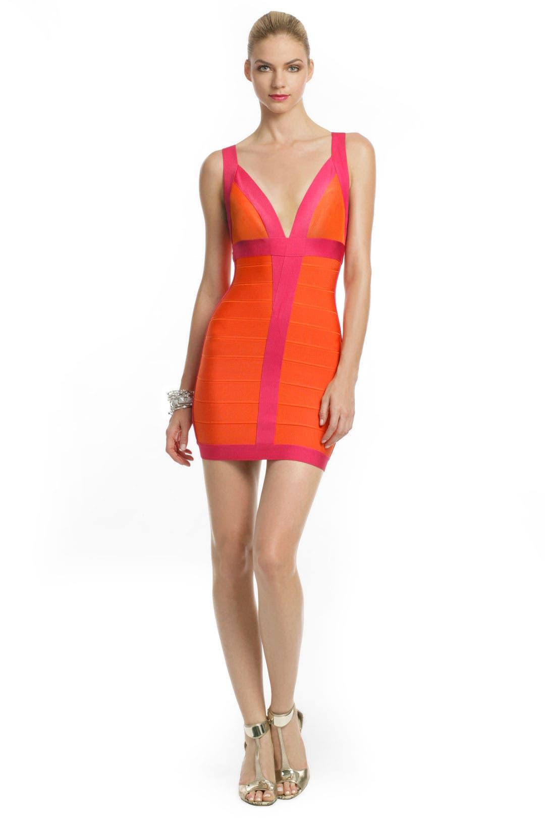 Citrus Flamingo Dress by Hervé Léger