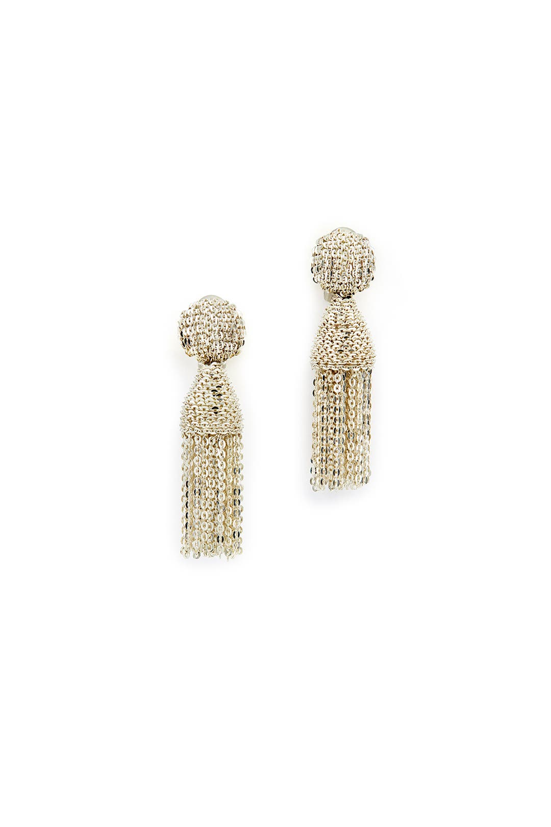 Mini Chain Tassel Earrings by Oscar de la Renta