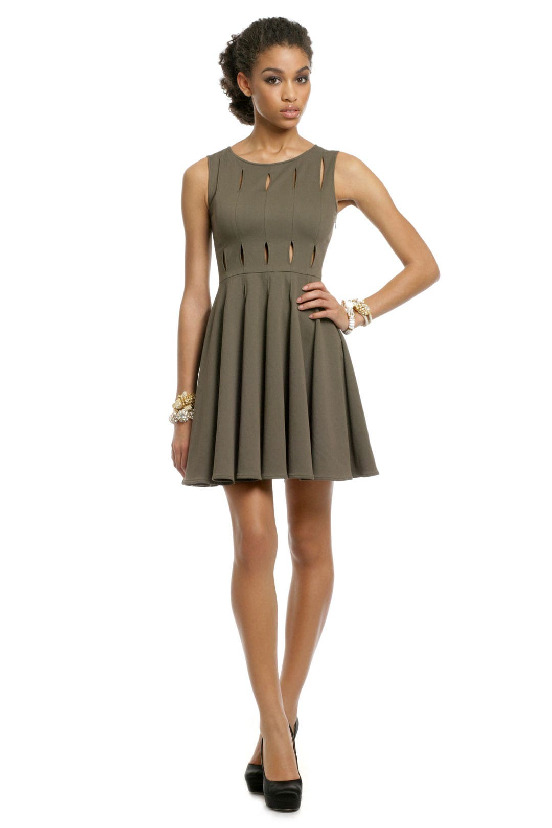 Olive Peep Dress by Opening Ceremony
