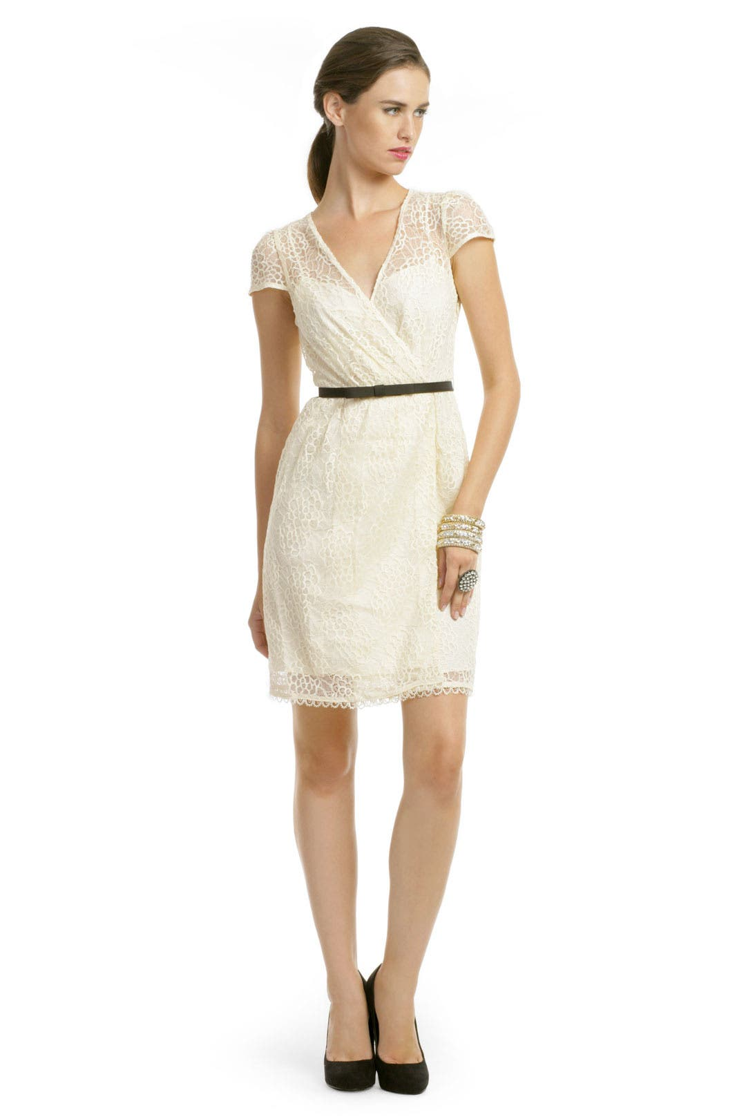 Ivory lace flutter dress by milly for 53 rent the runway for Renting a wedding dress
