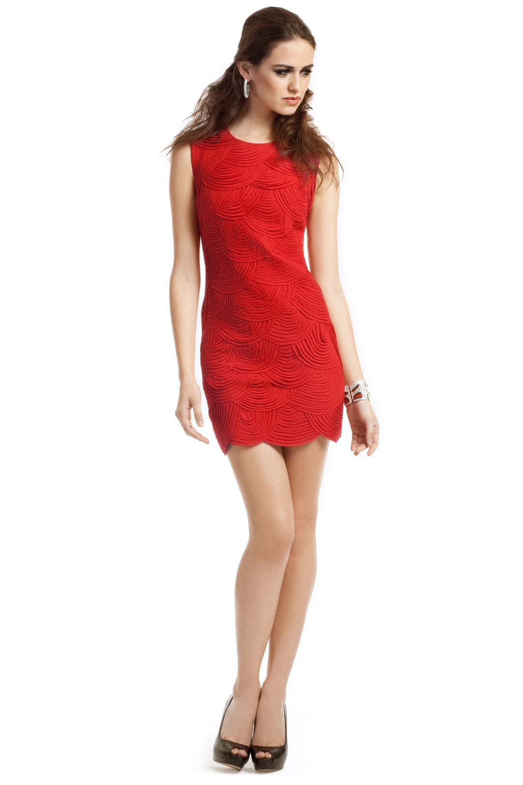 Crimson Scalloped Dress by Robert Rodriguez Collection