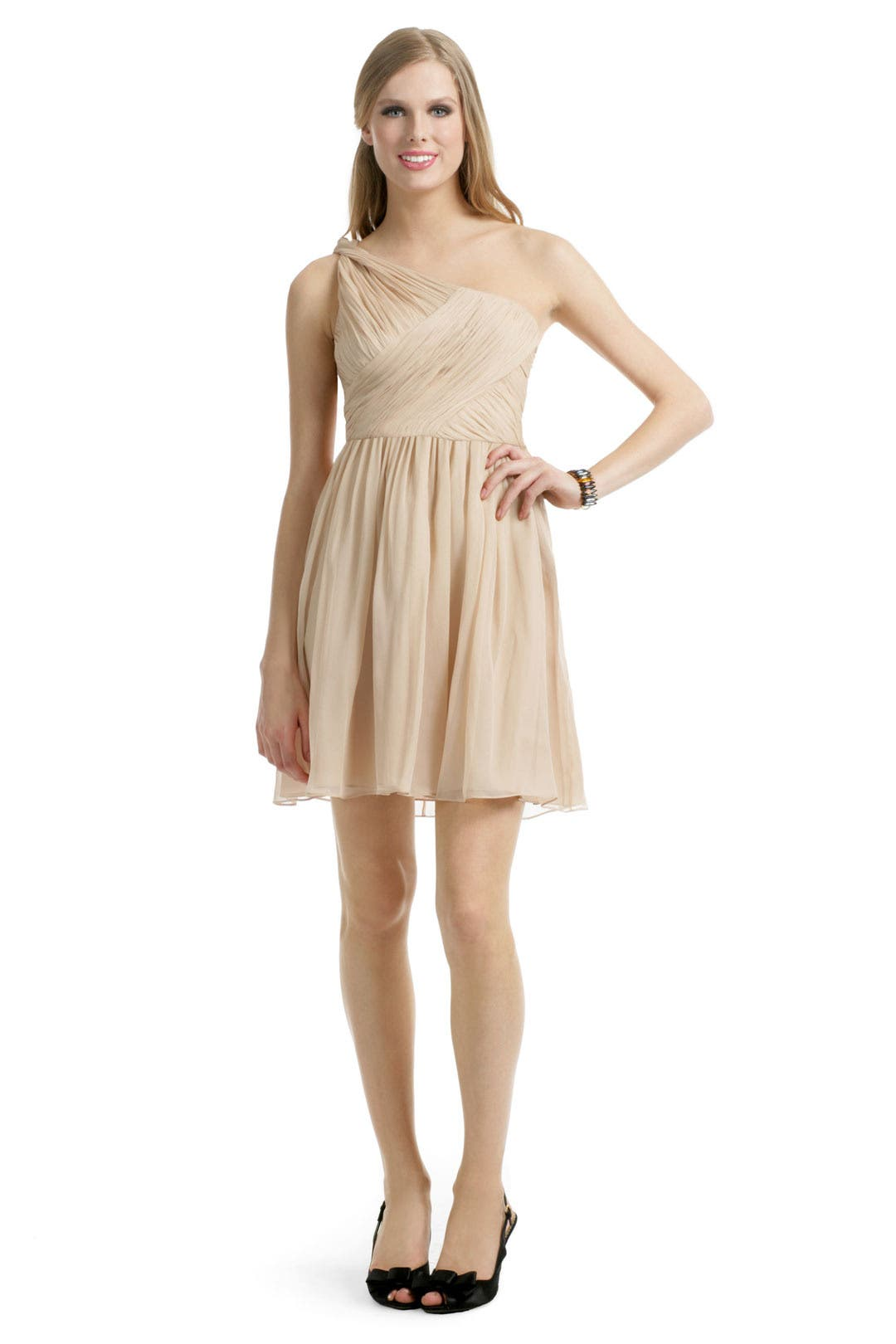 Camel Chiffon Dress by Tibi