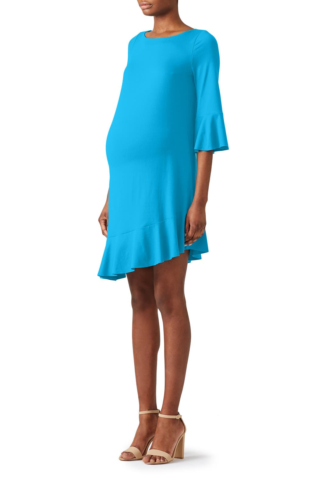 Blue Ruffle Maternity Dress by Susana Monaco for $35 | Rent the Runway