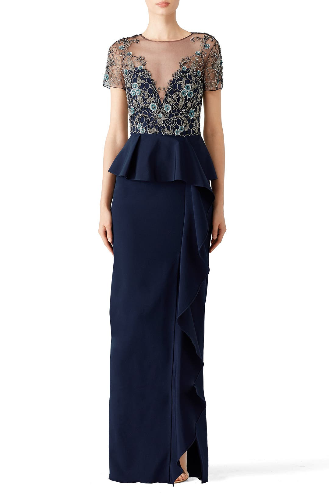 76bd5275b9 Navy Lace Ruffle Gown by Marchesa Notte for $180 | Rent the Runway