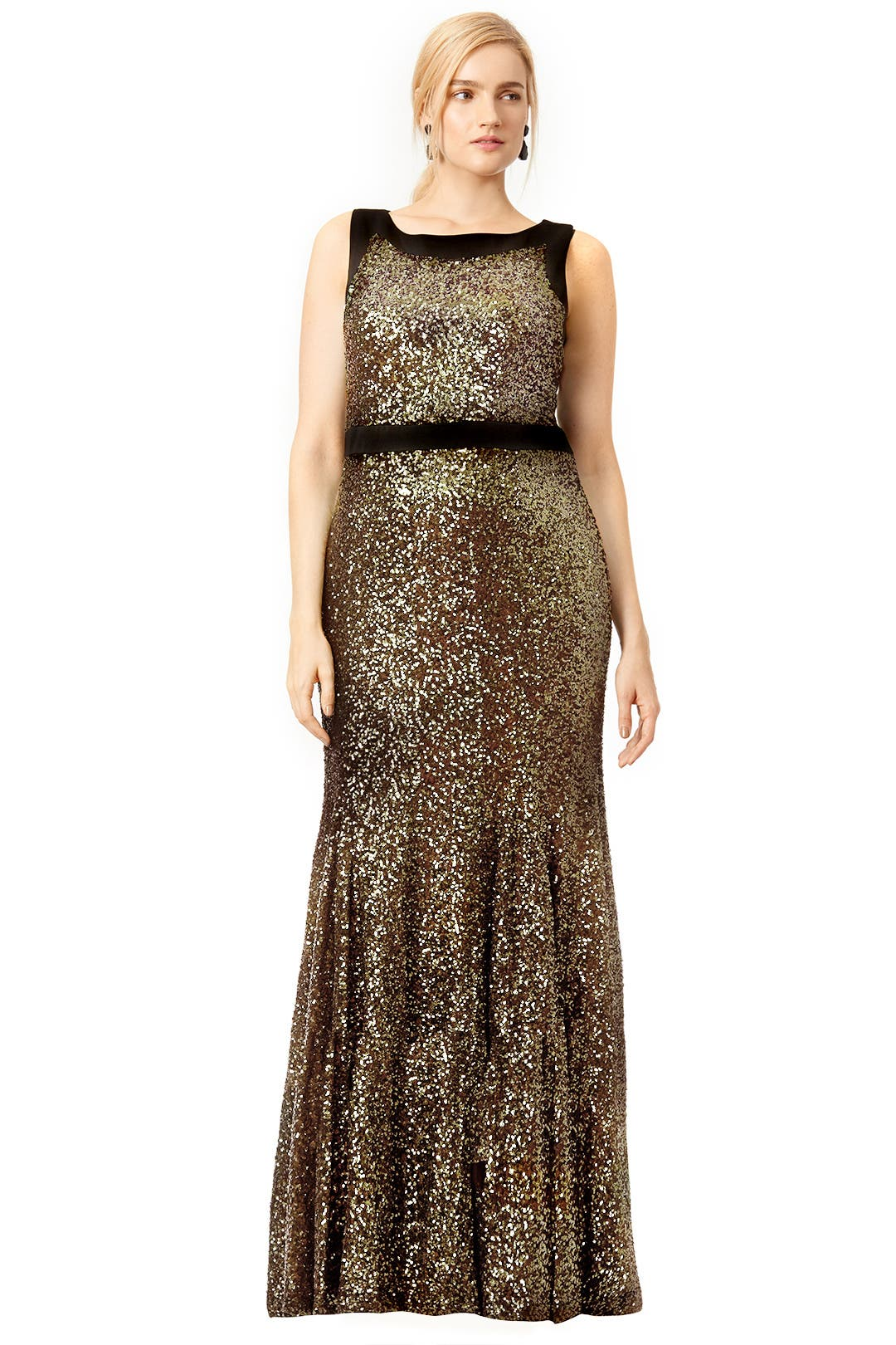 Gold Front and Center Gown by Badgley Mischka for $80 | Rent the Runway