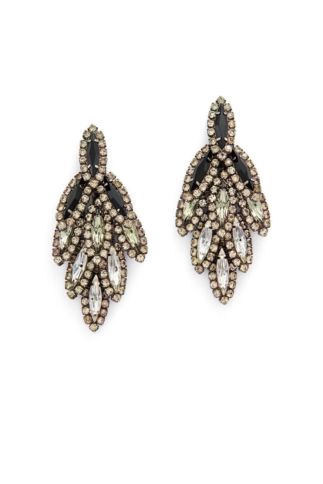 Jet Ombre Bacall Earrings by Elizabeth Cole