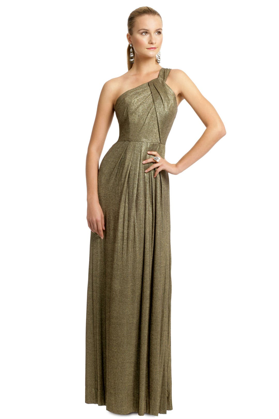 Gold Metallica Pleat Gown by Milly