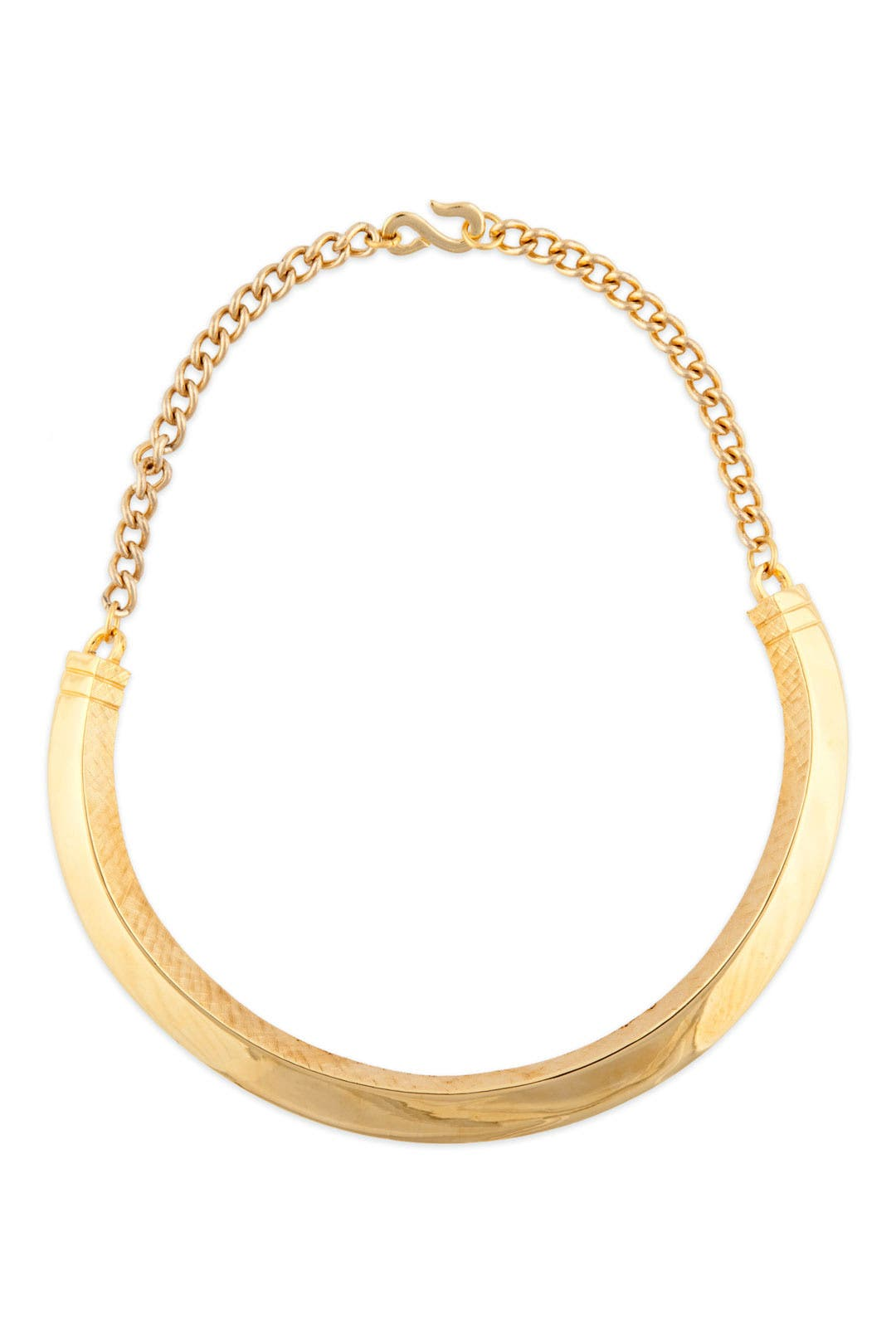 Gold Textured Bib Necklace by Kenneth Jay Lane