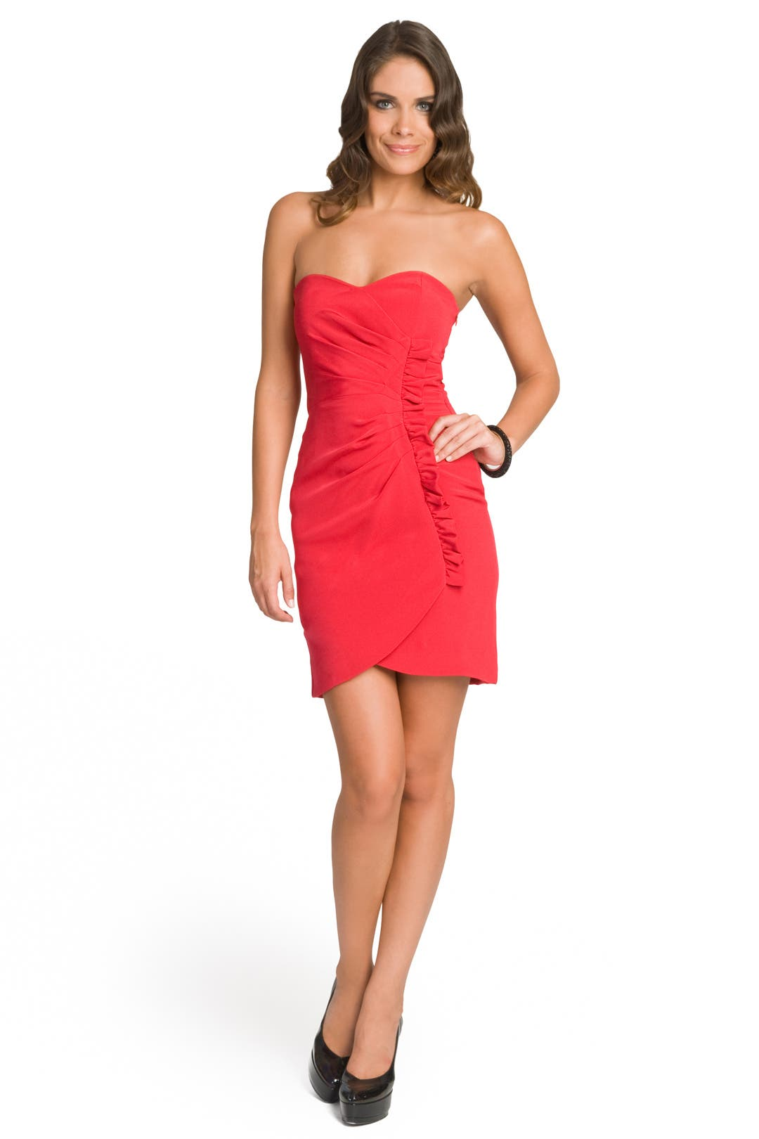Ruched Ruffle Sweetheart Dress by Laila Azhar