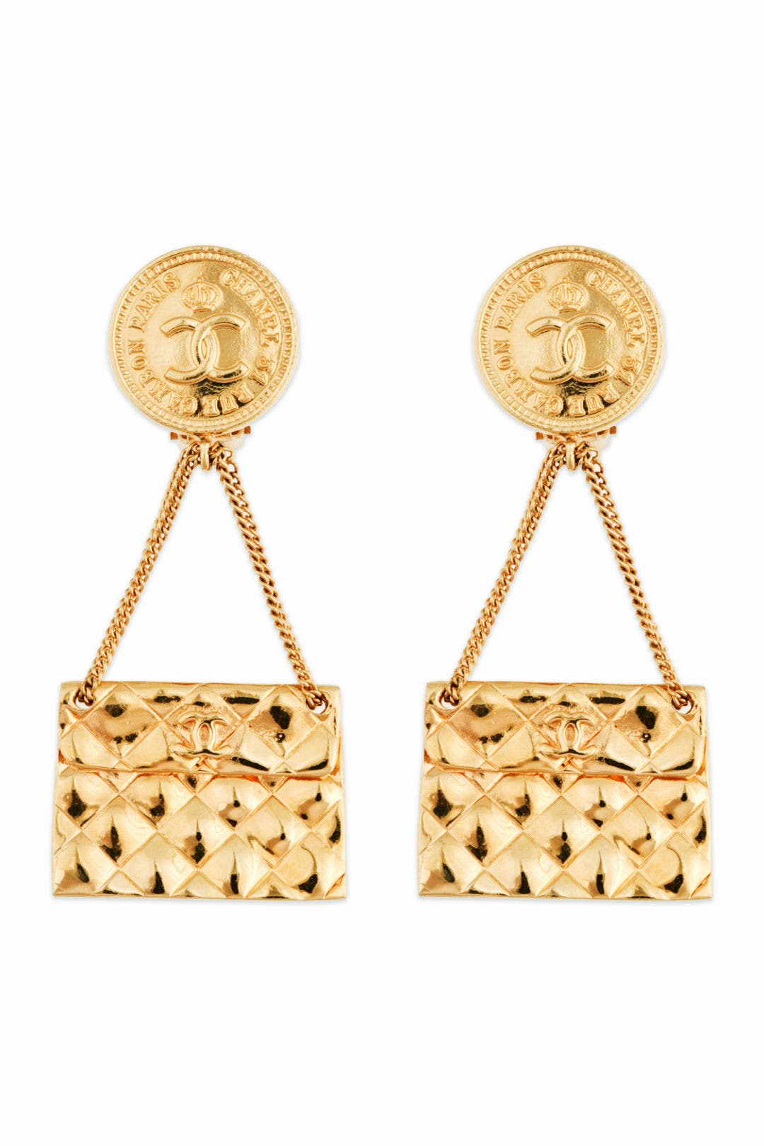 Vintage Chanel Flap Bag Earrings by WGACA Vintage