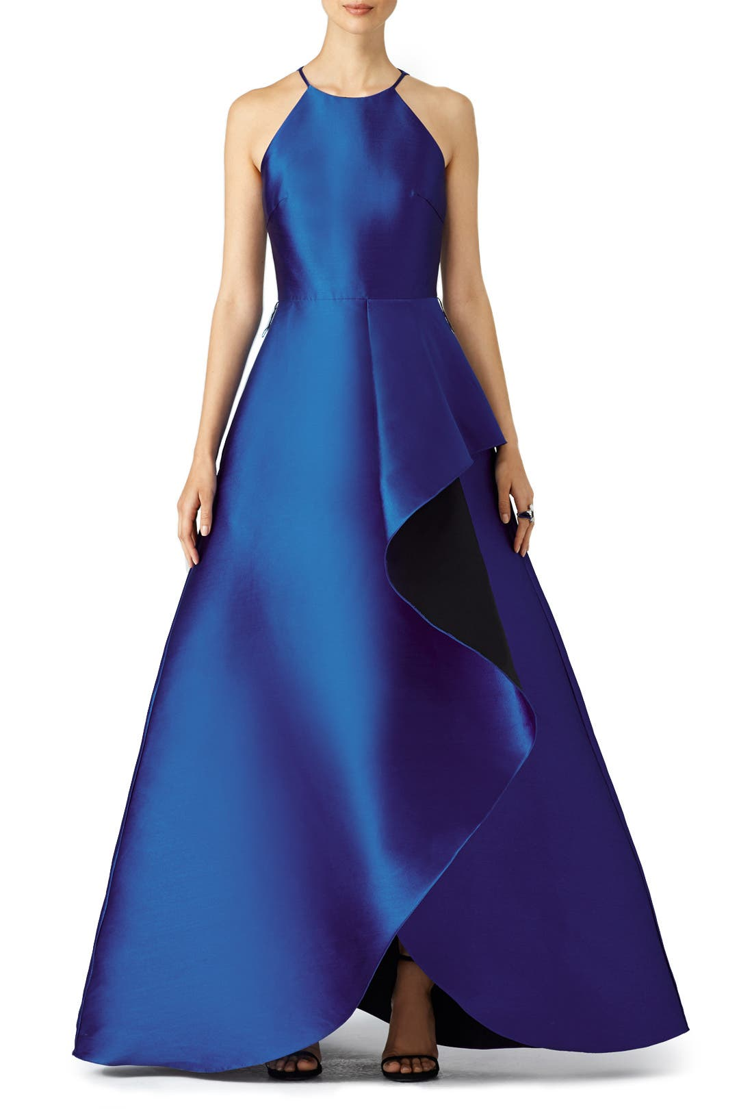 Royal Wedding Dresses For Rent : Royal blue reverse ruffle gown by badgley mischka for