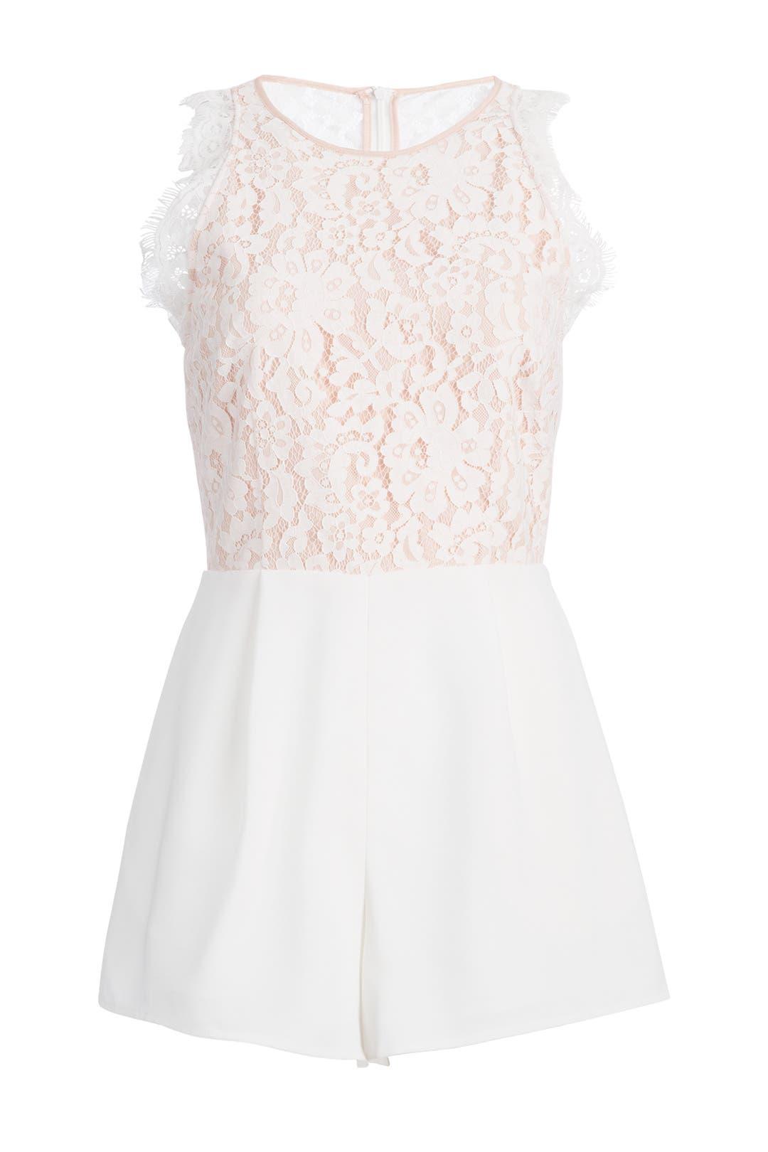 Silver pearl marisol white lace 1 - Keepsake White Lily Romper