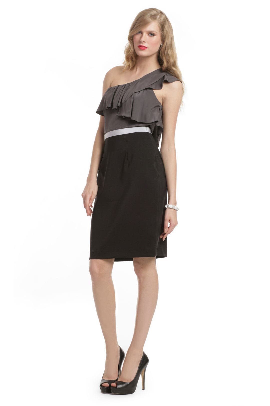 Charcoal Colorblock Ruffle Dress by Jay Godfrey